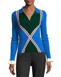 Esteban Cortazar - Ribbed Knit Polo Jumper - Lyst