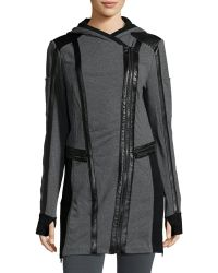 Blanc and Noir - Leather-trim Long-line Moto Hoodie - Lyst