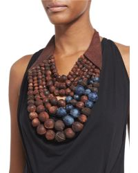 Urban Zen - Beaded Leather-wrapped Necklace - Lyst