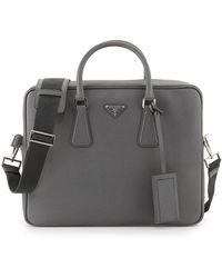 Prada - Saffiano Logo Briefcase With Shoulder Strap - Lyst