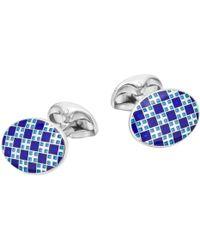 Deakin & Francis - Silver Blue & White Enamel Patterned Cufflinks - Lyst