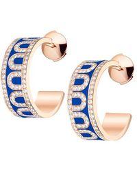 "Davidor - 18k Rose Gold, Diamond, & Riviera Blue Lacquer ""l'arc"" Hoops - Lyst"