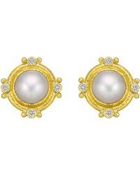 Elizabeth Locke - 19k Yellow Gold, Mabe Pearl & Diamond Earrings - Lyst