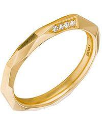 "Mimi So - 18k Yellow Gold & Diamond ""switch"" Band Ring - Lyst"