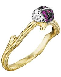 Mimi So - 18k Gold & Gem-set Ladybug Band Ring - Lyst