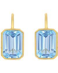 Goshwara - Emerald-cut Blue Topaz Drop Earrings - Lyst