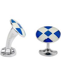 Deakin & Francis - Silver Royal Blue & White Enamel Harlequin Cufflinks - Lyst