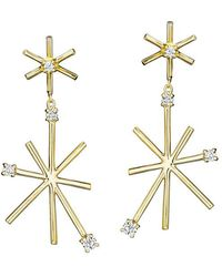 Mimi So - Small 18k Yellow Gold & Diamond Star Stick Drop Earrings - Lyst