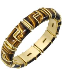 Tiffany & Co | Vintage 18k Yellow Gold & Tiger's Eye Bracelet | Lyst