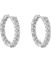 Roberto Coin - Small Inside Outside Diamond Hoop Earrings - Lyst