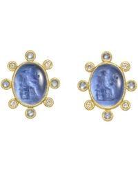 Elizabeth Locke - 19k Yellow Gold & Venetian Glass Intaglio Earrings - Lyst