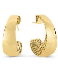 "Roberto Coin - 18k Yellow Gold ""golden Gate"" Hoop Earrings - Lyst"