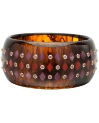 Mark Davis - Tortoise Bakelite Bangle With Red & Pink Inlay And Pink Sapphire - Lyst