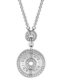 "BVLGARI - 18k White Gold & Diamond ""cerchi"" Pendant - Lyst"