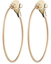 "Paul Morelli - Small 18k Yellow Gold & Diamond ""unity"" Hoop Earrings - Lyst"