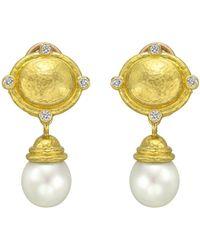 Elizabeth Locke - 19k Yellow Gold, Diamond & Pearl Drop Earrings - Lyst