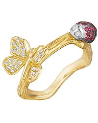 Mimi So - 18k Gold & Gem-set Ladybug & Butterfly Band Ring - Lyst