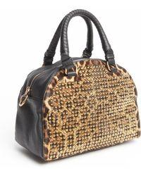 Christian Louboutin Leopard Studded Calf Hair Top Handle Convertible Bag animal - Lyst