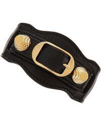 Balenciaga Giant 12 Yellow Golden Leather Single Strap Bracelet Black - Lyst