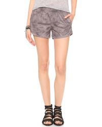 Monrow Leather Shorts Black - Lyst