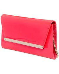 Jimmy Choo Margot Patent Leather & Suede Clutch - Lyst
