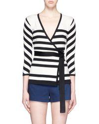 Diane von Furstenberg | Stripe Silk Blend Ballerina Wrap Top | Lyst