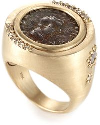 Coomi - Antiquity 20k Two-sided Coin Ring With Diamonds - Lyst