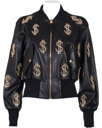 Moschino Leather Black Jacket With Golden Metal Inserts black - Lyst