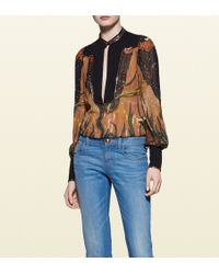 Gucci Fantasy Print Embroidered Silk Shirt black - Lyst
