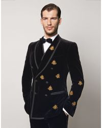 Dolce & Gabbana | black Velvet Martini Fit Double-breasted Suit With Bee Embroidery | Lyst