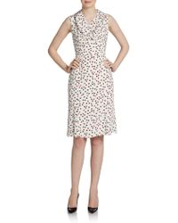 Carolina Herrera Card Suitprint Silk Crepe De Chine Dress - Lyst