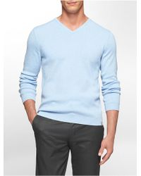 Calvin Klein White Label Cotton Modal V-Neck Sweater blue - Lyst