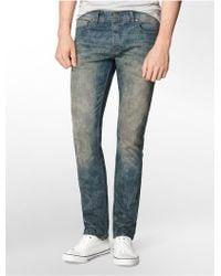 Calvin Klein Jeans Slim Leg Distressed Camouflage Jeans - Lyst
