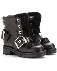 Alexander McQueen Leather Ankle Boots with Rabbit Fur - Lyst