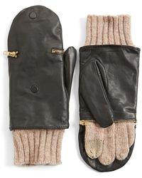 Echo - 'touch - Glitten' Knit & Leather Gloves - Lyst