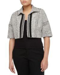 Carolina Herrera Boxy Open-front Tweed Cropped Jacket - Lyst