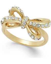 Kate Spade New York Gold-Tone Crystal Pavé Bow Ring - Lyst
