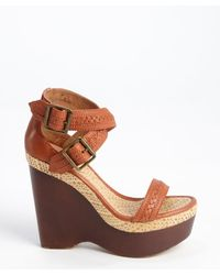 Joie Cognac Leather and Jute Conchita Wedge Sandals - Lyst