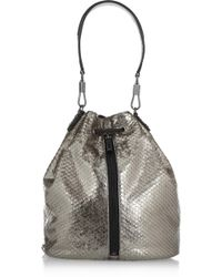 Elizabeth And James Cynnie Sling Metallic Snake-effect Leather Backpack - Lyst