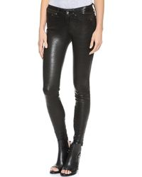 Rag & Bone/JEAN The Leather Skinny Pants - Washed Black - Lyst