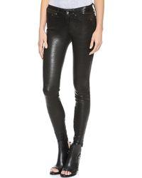 Rag & Bone The Leather Skinny Pants Washed Black - Lyst