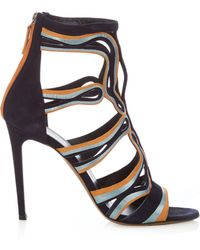 Peter Pilotto - Cage Leather And Suede Sandals - Lyst