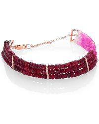 Meira T Ruby, Diamond & 14K Yellow Gold Ombre Three-Row Beaded Bracelet - Lyst