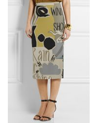 Burberry Prorsum Printed Stretch-Silk Georgette Pencil Skirt multicolor - Lyst