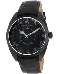 Ben Minkoff - Voyager Black Genuine Leather And Dial Black Ip Ss - Lyst