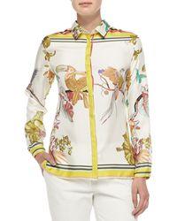 Etro Long-sleeve Silk Toucan-print Blouse - Lyst