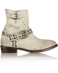 Ash Video Studded Distressed Leather Boots - Lyst