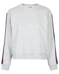 Topshop Tall Striped Sleeve Sweat gray - Lyst