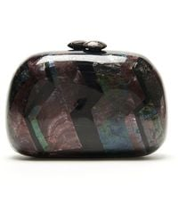 Serpui Marie Chevron Mother Of Pearl Oval Clutch - Lyst