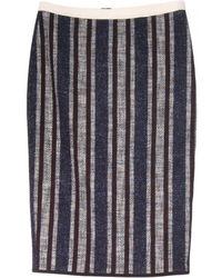 Giada Forte - Navy Striped Tweed Skirt - Lyst